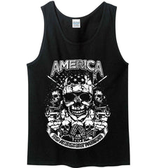 America. 2nd Amendment Patriots. White Print. Gildan 100% Cotton Tank Top.