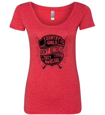 Country Girls Don't Retreat. They Reload. Women's Second Amendment. Black Print. Women's: Next Level Ladies' Triblend Scoop.