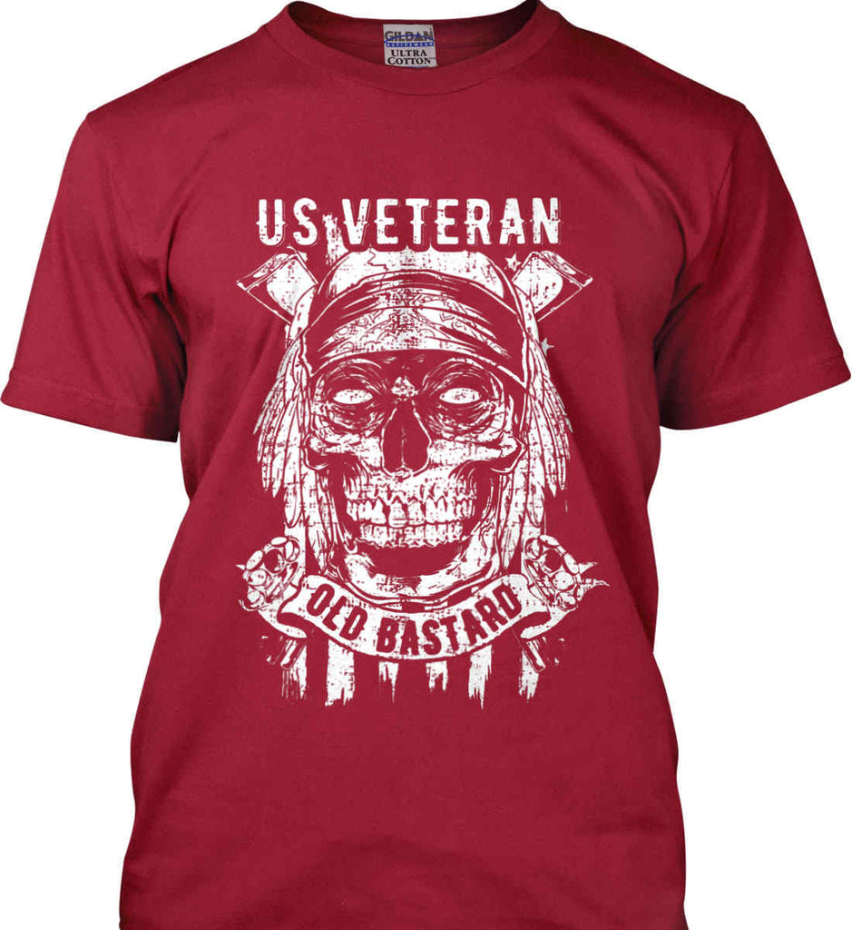US Veteran. Skull on Flag. White Print. Gildan Ultra Cotton T-Shirt.-11