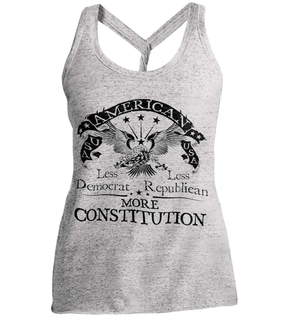 America: Less Democrat - Less Republican. More Constitution. Black Print Women's: District Made Ladies Cosmic Twist Back Tank.-2