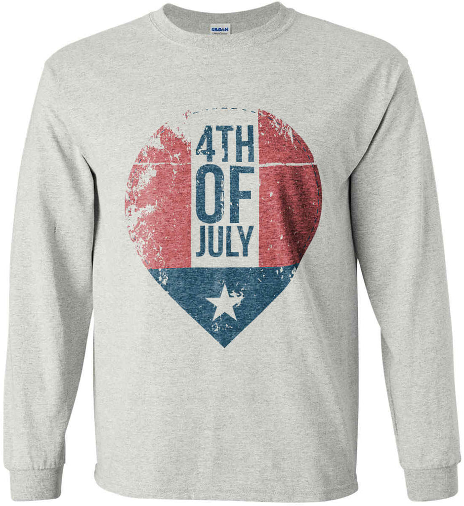 4th of July with Star. Gildan Ultra Cotton Long Sleeve Shirt.-3