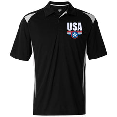 USA. Star-Shield. Red, White, Blue. Augusta Premier Sport Shirt. (Embroidered)