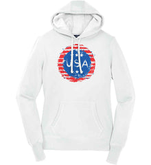 Grungy USA. Women's: Sport-Tek Ladies Pullover Hooded Sweatshirt.