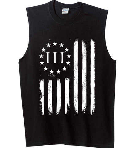 Three Percent on American Flag. White Print. Gildan Men's Ultra Cotton Sleeveless T-Shirt.