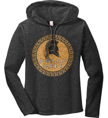 Molon Labe Spartan Helment. Gold Print. Women's: Anvil Ladies' Long Sleeve T-Shirt Hoodie.