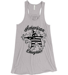 American Daughter. Women's Patriot Design. Women's: Bella + Canvas Flowy Racerback Tank.