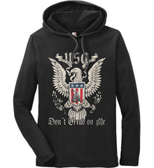 Don't Tread on Me. Eagle with Shield and Rattlesnake. Anvil Long Sleeve T-Shirt Hoodie.