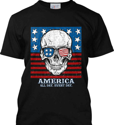 American Shades. America. All Day. Everyday. Port & Co. Made in the USA T-Shirt.