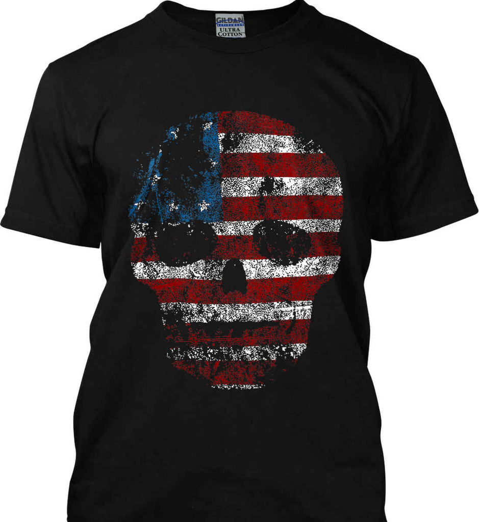 American Skull. Red, White and Blue. Gildan Ultra Cotton T-Shirt.-1