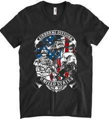 Airborne Division. United States. Anvil Men's Printed V-Neck T-Shirt.