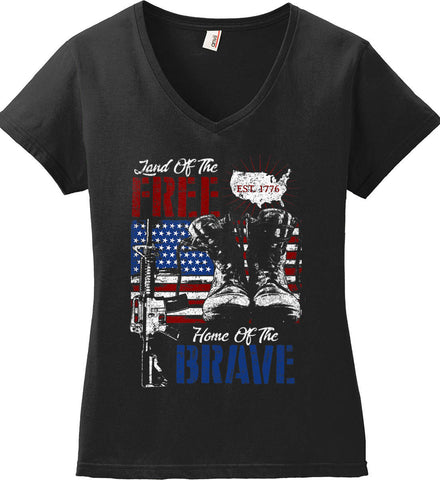Land Of The Free. Home Of The Brave. 1776. Women's: Anvil Ladies' V-Neck T-Shirt.