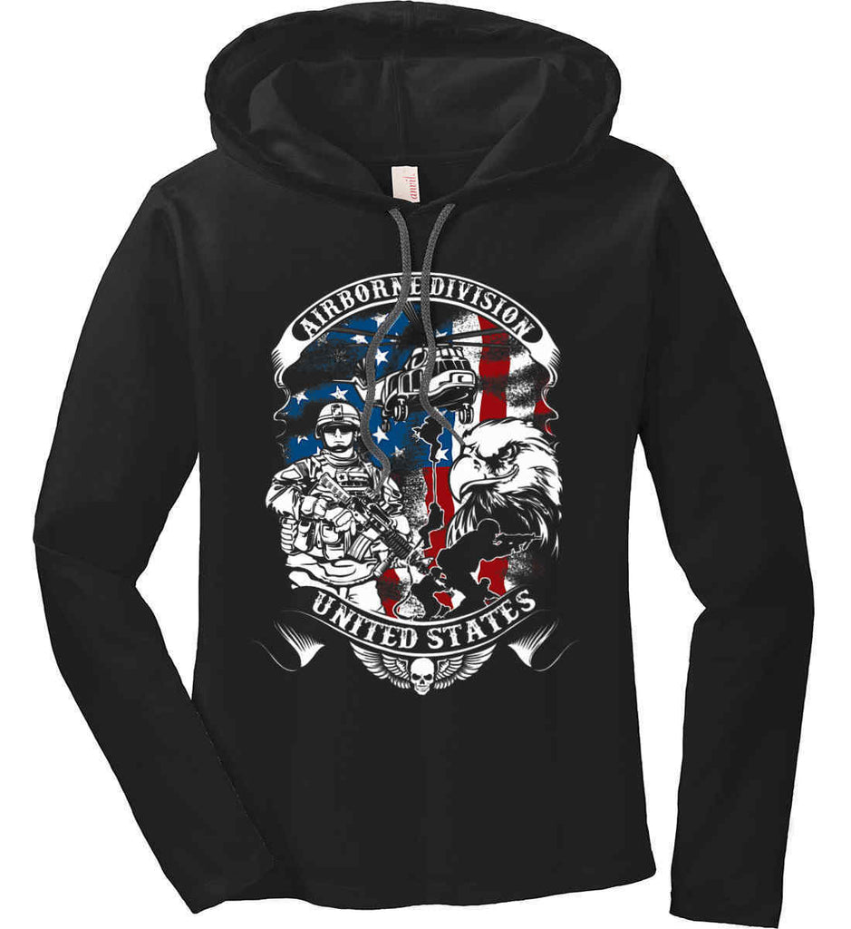 Airborne Division. United States. Women's: Anvil Ladies' Long Sleeve T-Shirt Hoodie.-2