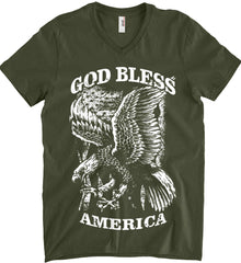 God Bless America. Eagle on Flag. White Print. Anvil Men's Printed V-Neck T-Shirt.
