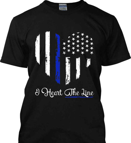 I Heart the Blue Line. Pro-Police. Gildan Ultra Cotton T-Shirt.