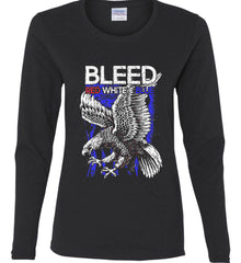 BLEED Red, White & Blue. Eagle on Flag. Women's: Gildan Ladies Cotton Long Sleeve Shirt.