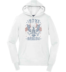 Vintage Americana Faded Grunge Women's: Sport-Tek Ladies Pullover Hooded Sweatshirt.
