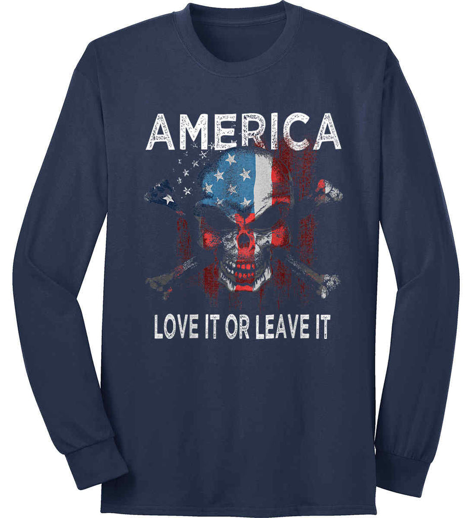 America. Love It or Leave It. Port & Co. Long Sleeve Shirt. Made in the USA..-2