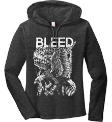BLEED Red, White & Blue. Eagle on Flag. White Print. Women's: Anvil Ladies' Long Sleeve T-Shirt Hoodie.