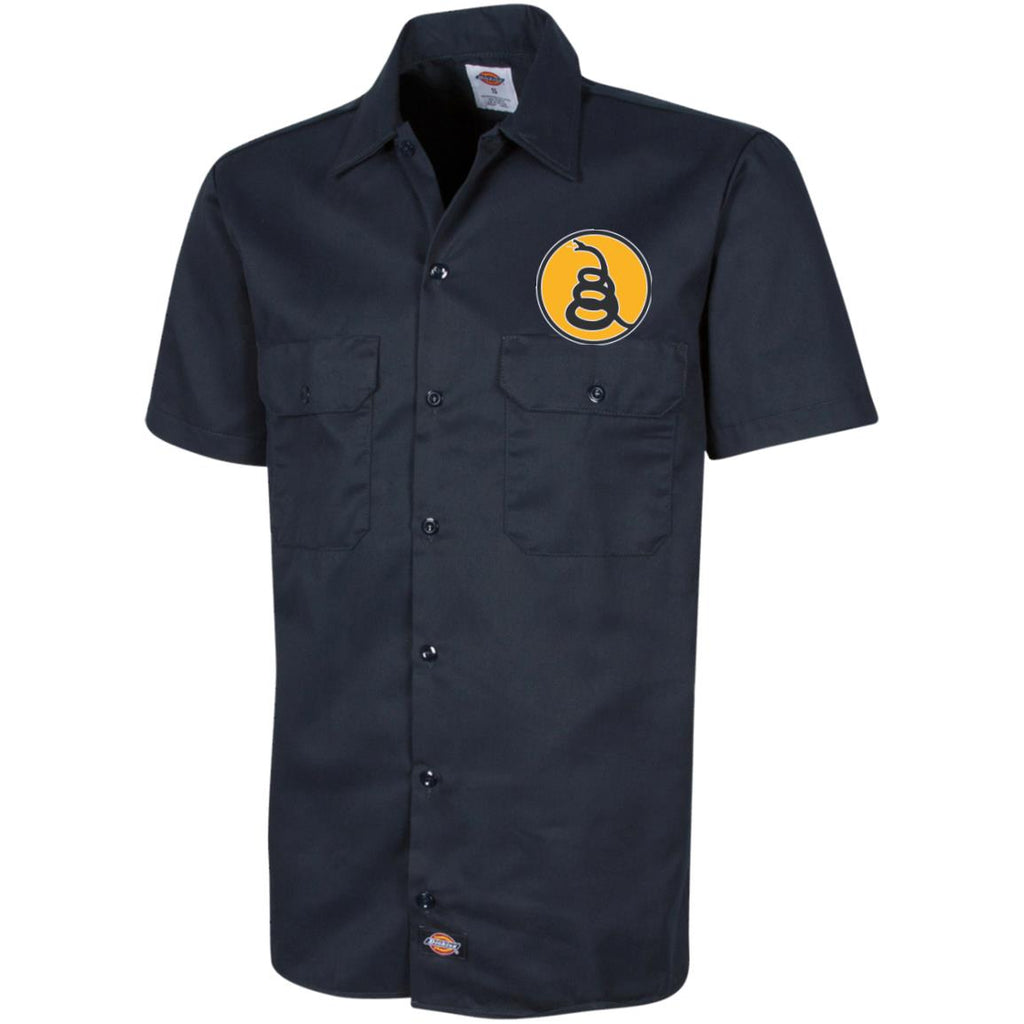 Don't Tread on Me Rattlesnake. Yellow/Black. Dickies Men's Short Sleeve Workshirt. (Embroidered)-3