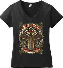 America Needs God and Guns. Women's: Anvil Ladies' V-Neck T-Shirt.