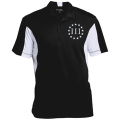 Three Percent III. Surrounded by Stars. Sport-Tek Men's Colorblock Performance Polo. (Embroidered)