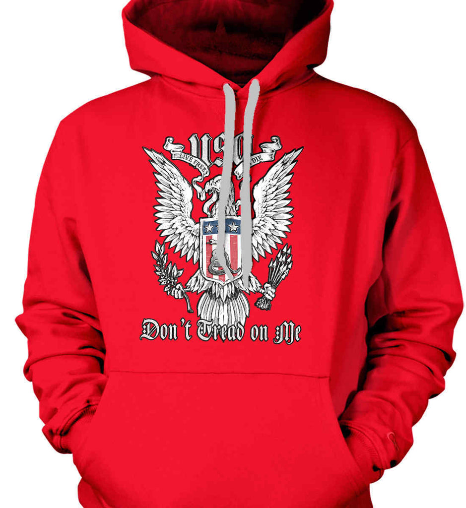 Don't Tread on Me. Eagle with Shield and Rattlesnake. Gildan Heavyweight Pullover Fleece Sweatshirt.-7