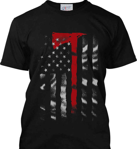 Thin Red Line. Firefighter Ax. Port & Co. Made in the USA T-Shirt.
