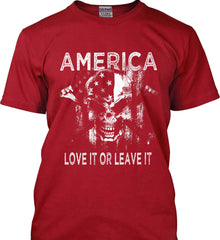 America. Love It or Leave It. White Print. Gildan Tall Ultra Cotton T-Shirt.
