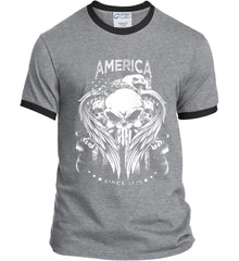 America. Punisher Skull and Bones. Since 1776. White Print. Port and Company Ringer Tee.