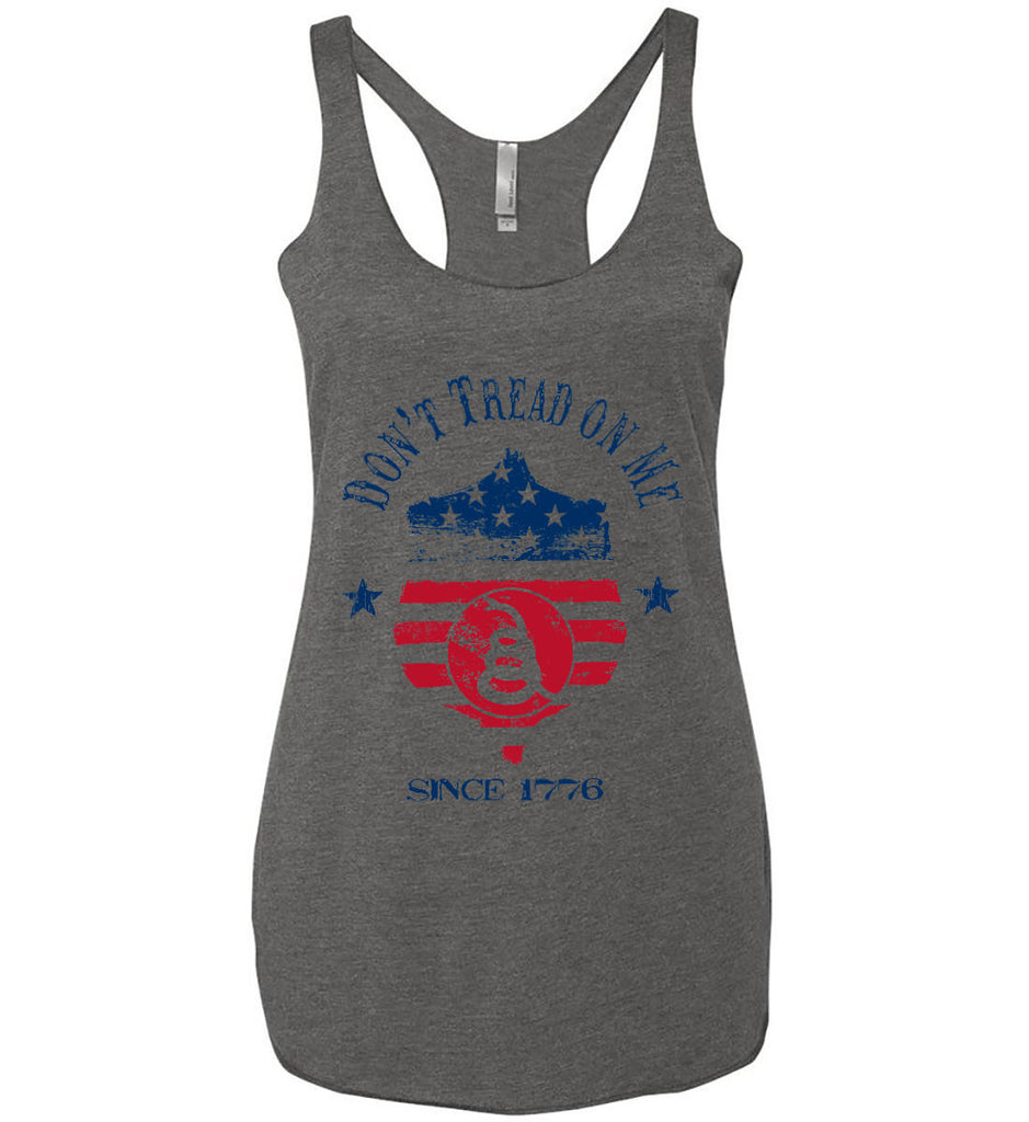 Don't Tread on Me. Snake on Shield. Red, White and Blue. Women's: Next Level Ladies Ideal Racerback Tank.-3