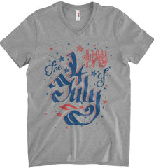 The 4th of July. Ribbon Script. Anvil Men's Printed V-Neck T-Shirt.