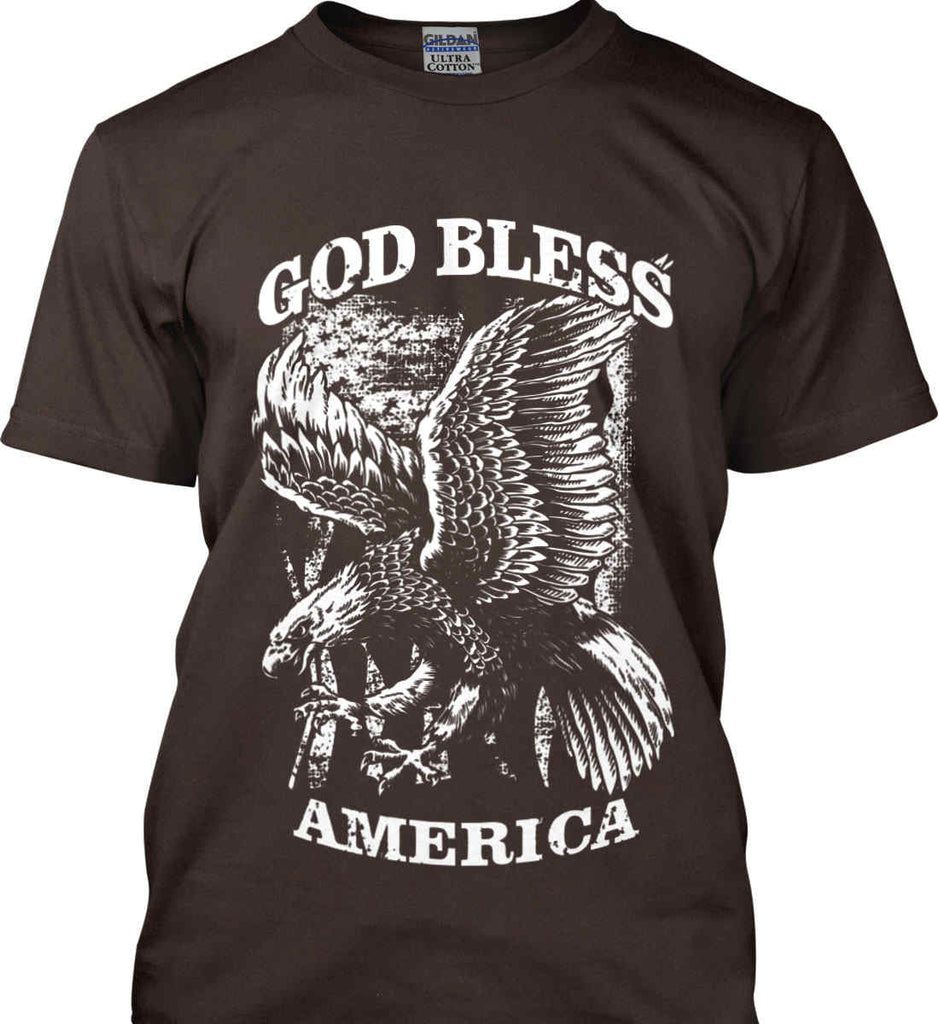 God Bless America. Eagle on Flag. White Print. Gildan Ultra Cotton T-Shirt.-7