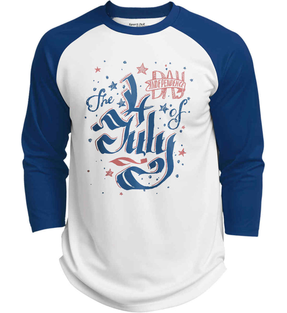 The 4th of July. Ribbon Script. Sport-Tek Polyester Game Baseball Jersey.-7