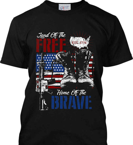 Land Of The Free. Home Of The Brave. 1776. Port & Co. Made in the USA T-Shirt.
