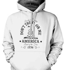 Don't Tread on Me. Liberty or Death. Land of the Free. Black Print. Gildan Heavyweight Pullover Fleece Sweatshirt.