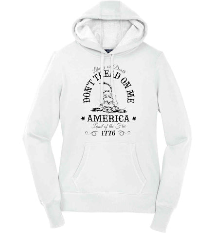 Don't Tread on Me. Liberty or Death. Land of the Free. Black Print. Women's: Sport-Tek Ladies Pullover Hooded Sweatshirt.