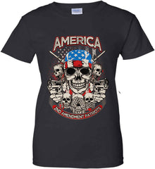 America. 2nd Amendment Patriots. Women's: Gildan Ladies' 100% Cotton T-Shirt.