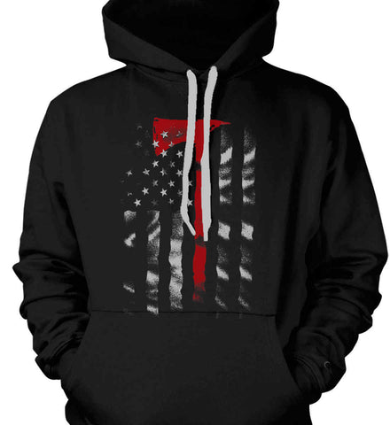 Thin Red Line. Firefighter Ax. Gildan Heavyweight Pullover Fleece Sweatshirt.