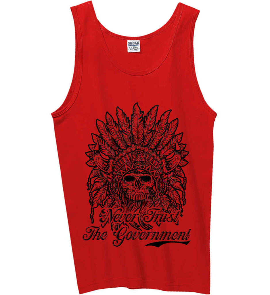 Skeleton Indian. Never Trust the Government. Gildan 100% Cotton Tank Top.-4