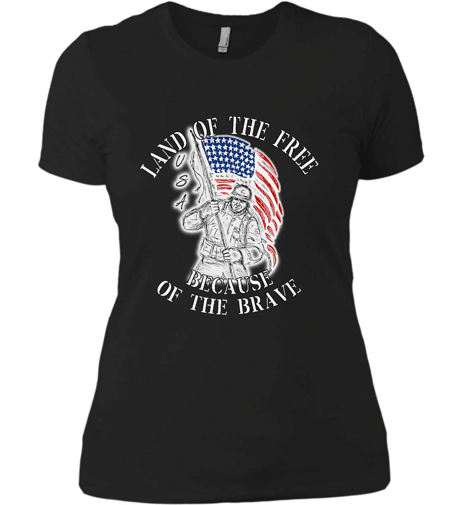 Land of the Free Because of The Brave. Women's: Next Level Ladies' Boyfriend (Girly) T-Shirt.-1