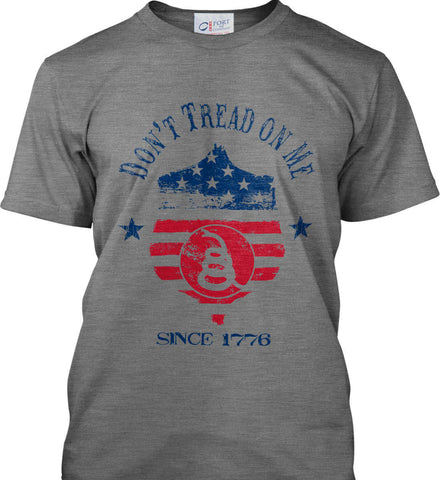 Don't Tread on Me. Snake on Shield. Red, White and Blue. Port & Co. Made in the USA T-Shirt.