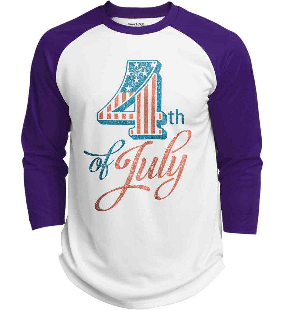 4th of July. Faded Grunge. Sport-Tek Polyester Game Baseball Jersey.-2
