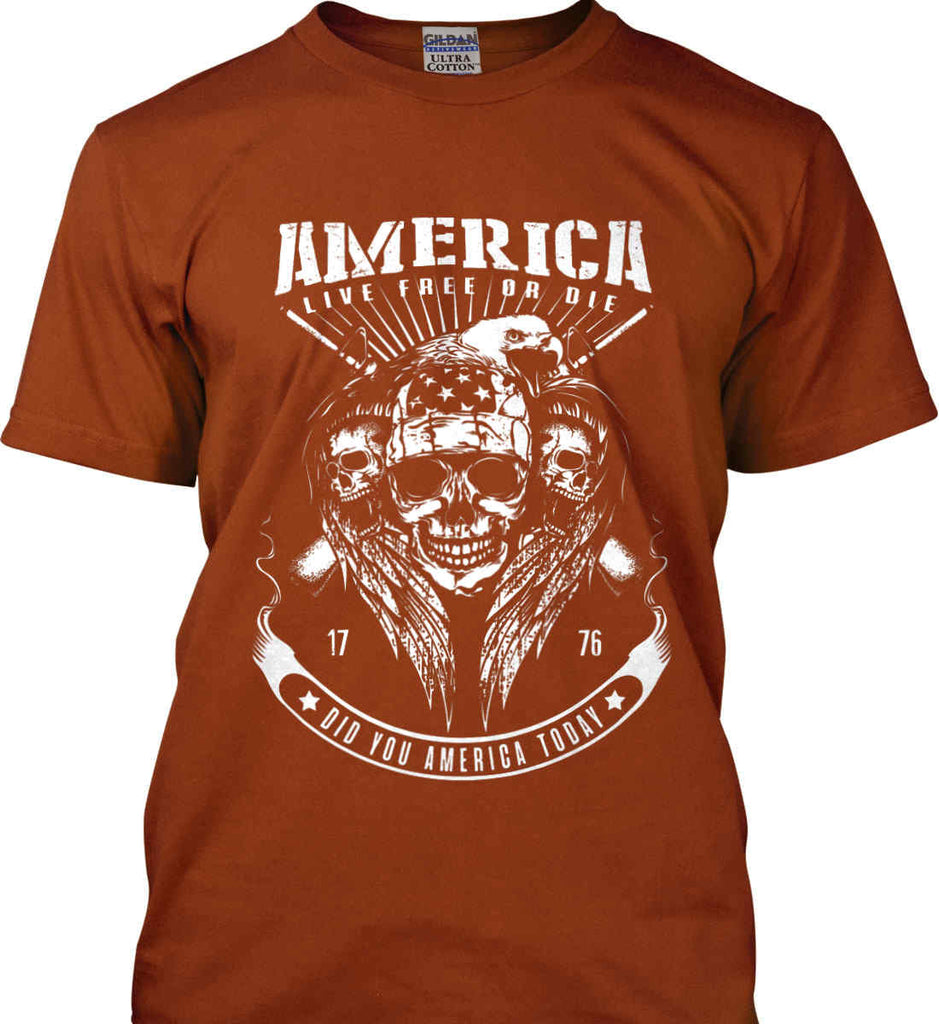 Did you America Today. 1776. Live Free or Die. Skull. White Print. Gildan Ultra Cotton T-Shirt.-12