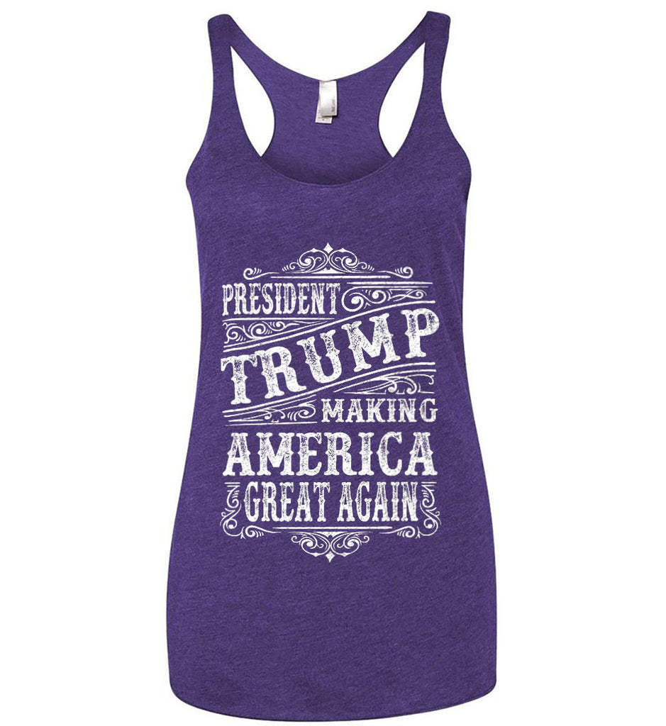 President Trump. Making America Great Again. Women's: Next Level Ladies Ideal Racerback Tank.-7