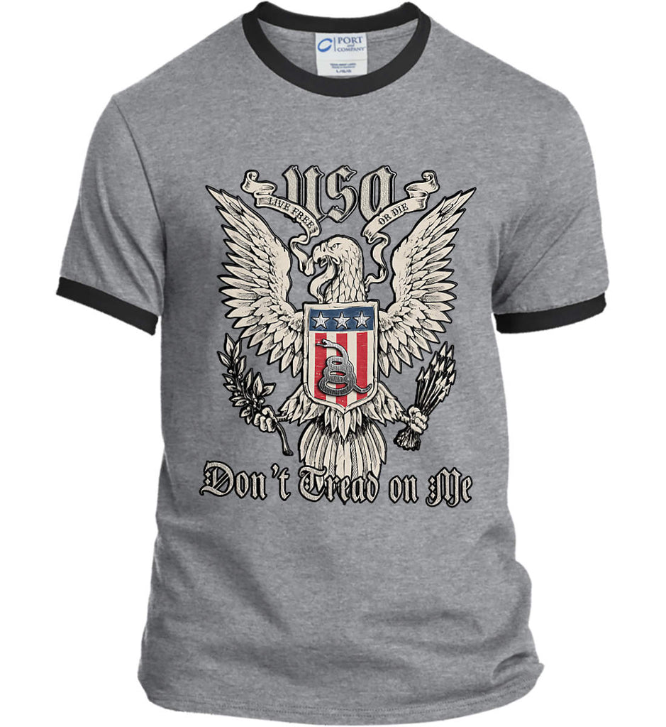 Don't Tread on Me. Eagle with Shield and Rattlesnake. Port and Company Ringer Tee.-1