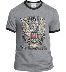 Don't Tread on Me. Eagle with Shield and Rattlesnake. Port and Company Ringer Tee.