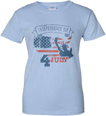 4th of July. Faded Grunge. Statue of Liberty. Women's: Gildan Ladies' 100% Cotton T-Shirt.