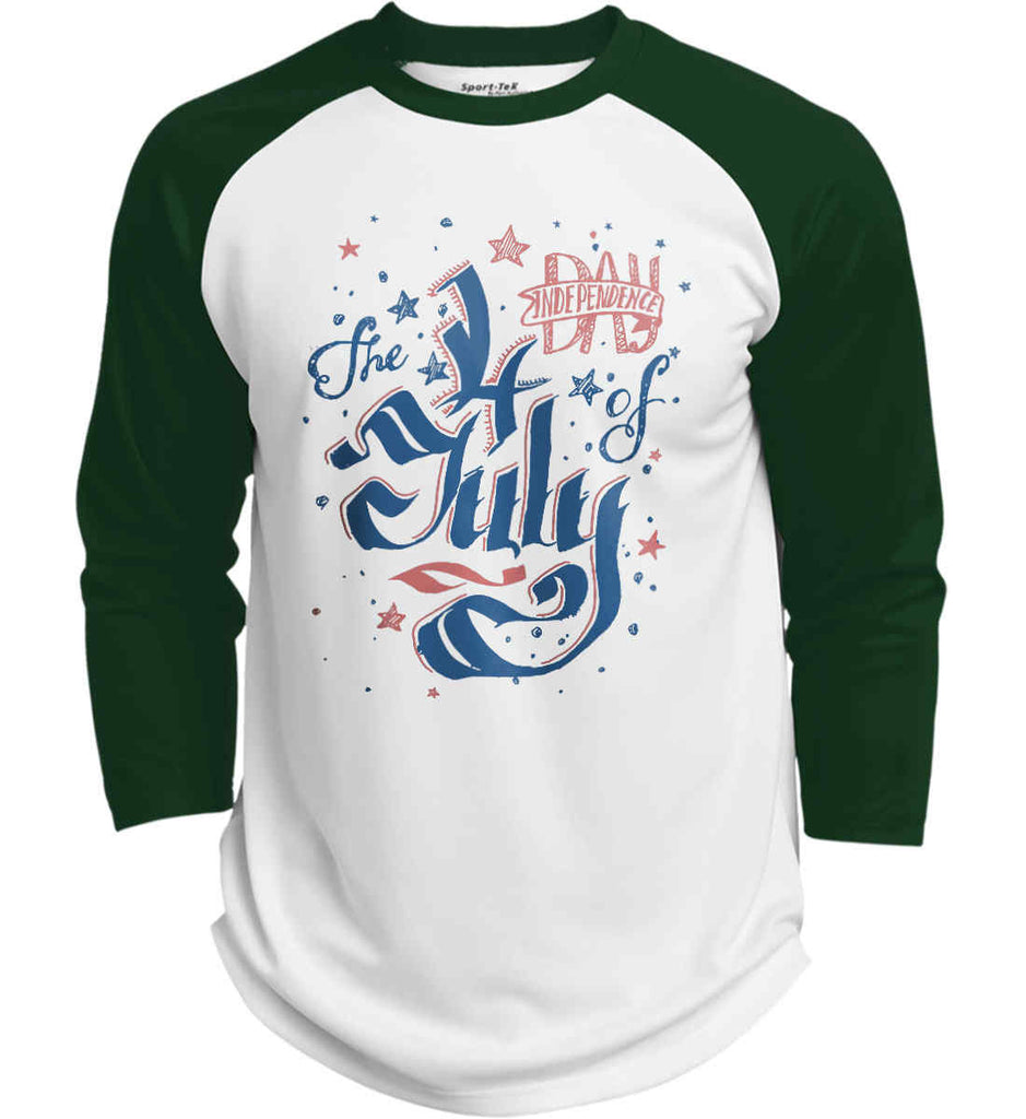 The 4th of July. Ribbon Script. Sport-Tek Polyester Game Baseball Jersey.-2