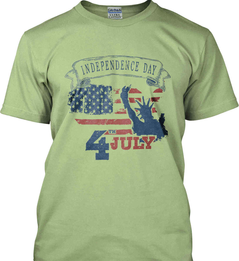 4th of July. Faded Grunge. Statue of Liberty. Gildan Ultra Cotton T-Shirt.-7