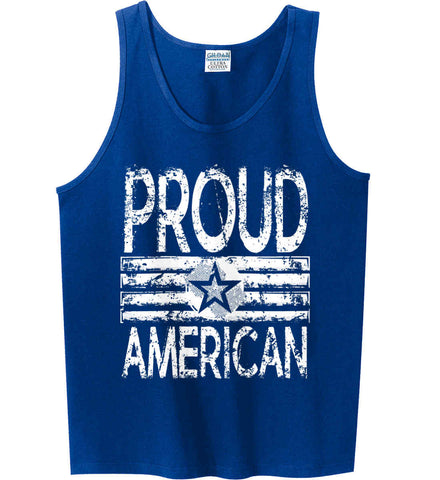 Proud American. Loud and Proud. White Print. Gildan 100% Cotton Tank Top.